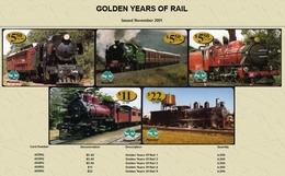 """Australian PAYTEL Phone Cards """"GOLDEN YEARS OF RAIL"""" Set No 56 Of 5 In Unused Mint Condition Scarce 11/2001 - Trains"""