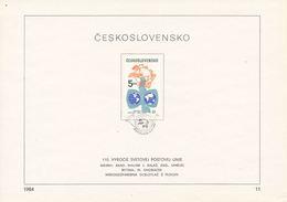 Czechoslovakia / First Day Sheet (1984/11) Bratislava: 110 Anniversary Of UPU (1874-1984); Painter: Jozef Balaz - UPU (Union Postale Universelle)