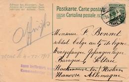 """Zwitserse Entier Neuchatel 1915 Naar Belgische POW In Soltau/Hakenmoor: """"kann Befördert Werden Kommandantur Soltau""""."""