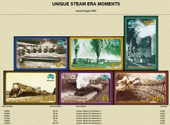 """Australian PAYTEL Phone Cards """"UNIQUE STEAM ERA MOMENTS"""" Set No 70 Of 6 In Unused Mint Condition Scarce 08/2003 - Trains"""