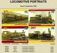 "Australian PAYTEL Phone Cards ""LOCOMOTIVE PORTRAITS"" Set No 78 Of 4 In Unused Mint Condition Scarce 09/2004 - Trains"