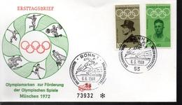 ALLEMAGNE  FDC Bonn JO 1972   Football  Soccer  Fussball Hippisme Course Gymnastique Halterophilie Javelot - Football