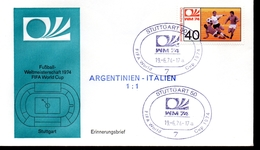ALLEMAGNE  FDC Cm 1974   Stuttgart      Argentine  - Italie    1 - 1    Football  Soccer Fussball - Coppa Del Mondo