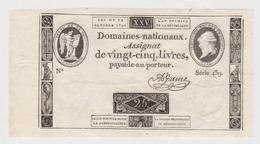RARE ET BEL ASSIGNAT 25 LIVRES A FACE ROYALE DU 24 OCTOBRE 1792 EN TRES BEL ETAT SERIE 439 GRANDES MARGES - Assignats & Mandats Territoriaux