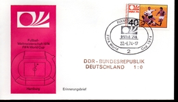 ALLEMAGNE  FDC Cm 1974  Hamburg   DDR  -  Allemagne   1 - 0    Football  Soccer Fussball - Coppa Del Mondo