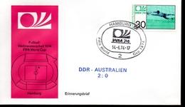 ALLEMAGNE  FDC Cm 1974  Hamburg   DDR - Australie   2 - 0    Football  Soccer Fussball - Coppa Del Mondo