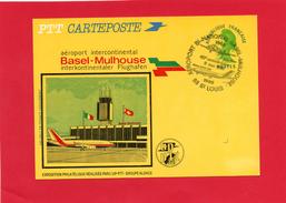 Carte (Aéroport Intercontinental  BASEL - MULHOUSE  40° Anniversaire - Avions
