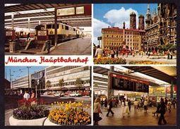 """(1056) MÜNCHEN Hauptbahnhof """" Merbildkarte """" (C-2) - Estaciones Con Trenes"""