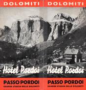 """05213 """"DOLOMITI-PASSO PARDOI-GRANDE STRADA DELLE DOLOMITI- HOTEL"""" DEPLIANT PUBBL. 1939 - Dépliants Turistici"""