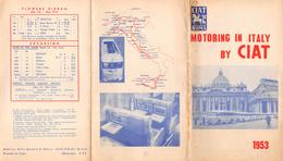 """05214 """"MOTORING IN ITALY BY CIAT - GITE"""" DEPLIANT PUBBL. 1953 DESTINAZIONI E PREZZI - BUS VIBERTI - Dépliants Turistici"""