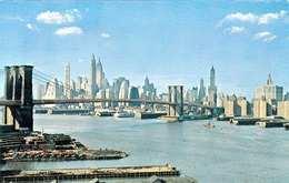 NEW YORK CITY - LOWER MANHATTEN SKYLINE SHOWING BROOKLIN BRIDGE, Gel.1958 - Manhattan