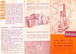 """05216 """"BOLOGNA ENTE PROVINCIALE PER IL TURISMO-VISITA CITTA' IN AUTOPULLMAN CON GUIDA-INTERPRETE - 1959"""" - Dépliants Turistici"""