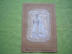 Canivet 19ème Grand Format Montage Souvenir 1ère Communion Communiante Tissu Et Soie - Imágenes Religiosas