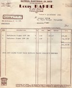 VP7164 - Factures & Lettre De Change - Matériel Electrique - Etablissements Louis BARBE à TOULOUSE - Electricity & Gas