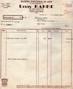 VP7165 - Factures & Lettre De Change - Matériel Electrique - Etablissements Louis BARBE à TOULOUSE - Electricity & Gas