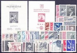 * Tchécoslovaquie 1946-7 Mi 490-528 + Bl.8-9 (Yv 427-456+PA 19-27+BF 10-11), (MH), Trace De Charniere Propre - Czechoslovakia