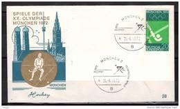 ALLEMAGNE  Enveloppe Cachet MUNCHEN 2   Jo 1972  Hockey Sur Gazon