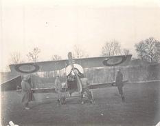 Photo Ancienne Originale Avion Biplan Officiers  Aviation De Guerre  1914 1918 Ww1 Grande Guerre - Guerre, Militaire