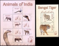 S. Vincent 2011, Anmals Of India, Elephants, Peafowl, Cobra, Rhino, Tiger, 7val In BF +BF