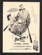 Pub Papier 1956  Boisson Soda PSCHITT PERRIER  Eau Pin Up Clown Blanc Barque - Publicités