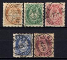 Norvegia 1882 Unif.36,68,39,43,44 O/Used VF/F - Norvège