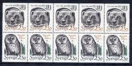 SWEDEN 1989 Endangered Species Booklet Pane MNH / **.  Michel 1520-21 - Unused Stamps