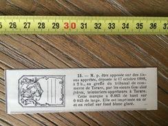 MARQUE DEPOSEE 1888 TISSU GOURDIAT FRERES TEINTURIERS APPRETEURS A  TARARE - Collections