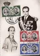 MONACO 1956 - 3 Sondermarken Auf Ak FÜRSTENPAAR - Monaco