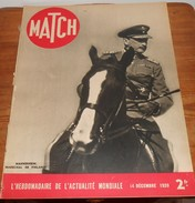 Match. 14 Décembre 1939. En Trois Mois La Guerre A Fait Le Tour Du Monde. Louise Thuliez. - Libros, Revistas, Cómics