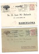 España. 2 Postales Dirigidas Desde Madrid A Barcelona Con Publicidad Impresa - 1931-Hoy: 2ª República - ... Juan Carlos I