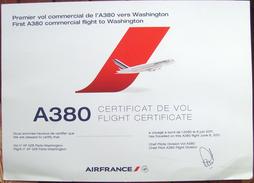 Airbus A 380 Flight Sertificate / First Commercial Flight Paris - Washington - 06.06.2011 - Flight Certificates