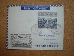 Enveloppe Affranchissement Martinique Poste Aérienne Oblitération Fort De France 1ère Liaison Air France 1947 - Poste Aérienne