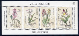 SWEDEN 1982 Wild Orchids Block MNH / **.  Michel Block 10 - Unused Stamps