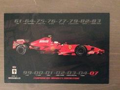 Cartolina Con Sul Retro Annullo Rosso Comune Di Maranello 15° Mondiale Piloti Della Ferrari 21-10-2007 - Grand Prix / F1