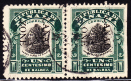 """Panama Canal Zone 1906 1c Balboa Pair, Right Stamp Missing """"Z"""" In """"ZONE"""", Imperf At Right. Scott 22. Used. - Panamá"""