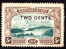 "British Guiana 1899 2c On 5c Mt. Roraima. Overprinted ""OENTS"" Instead Of ""CENTS"". Scott 157. MNG. - Guyana Britannica (...-1966)"