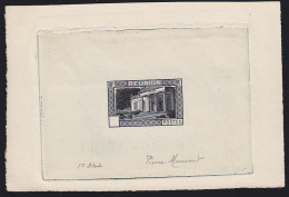 """Reunion 1933 Leon Dierx Museum. Die Proof Signed By Engraver MUNIER And Marked """"1er Etat"""" (first Stage). Scott Type A224 - Cartas"""