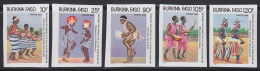 Burkina Faso 1986 Native Dancers.  Set Of 5 Imperfs. Scott  785-9. - Burkina Faso (1984-...)