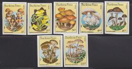 Burkina Faso 1985 Mushrooms. Set Of 7 Imperforates. Scott  743-9. - Burkina Faso (1984-...)