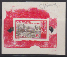 French Guiana 1929 Canoe /Maroni River. Bicolor (red) Signed Die Proof  With Control Punches, Lacking Value. Scott A17.