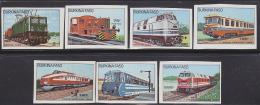 Burkina Faso 1985 Trains.  Set Of 7 Imperforates. Scott  732-8. - Burkina Faso (1984-...)