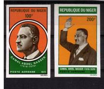 NIGER 1970 YT PA 146/147 ND** NASSER - NON DENTELE - MNH - IMPERF - Niger (1960-...)