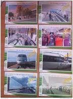 FRANCE 2007 SERIE DE 8 CARTES EMISES PAR LA SNCF TGV EST EUROPEEN STRASBOURG RARE! - Trains