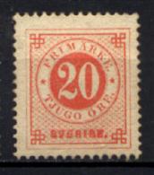 Svezia 1877 Unif.21/I (*)/NG VF/F