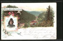 Lithographie Friedrichroda, Ortspartie Der Grund - Friedrichroda