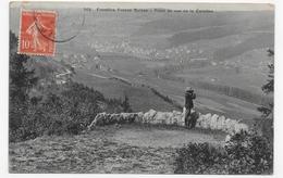 (RECTO / VERSO) FRONTIERE FRANCO SUISSE - N° 568 - POINT DE VUE DE LA CAROLINE AVEC PERSONNAGE - PLI ANGLE HAUT A GAUCHE - France