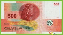 Voyo COMOROS  500 Francs 2006 P15(2) B306b UNC Prefix P Lemur Orchid - Komoren
