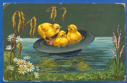 Fantaisie; Ostern; Christos, Cristos A Inviat; Küken; Ostereier; 1909 Stempel Piatra Neamt Und Brasso - Ostern