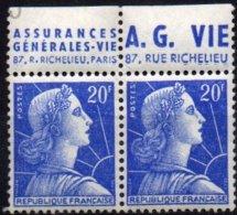 FRANCE - 20 F. Muller - Paire AG Vie - Carnets