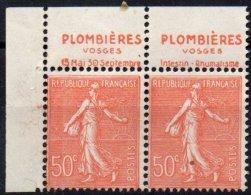 FRANCE - 50 C. Lignée - Paire Plombières Type IIB - Markenheftchen